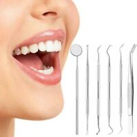 6pcs Stainless Dental Tool Set Kit Dentist Teeth Clean Hygiene Mirror Oral Care