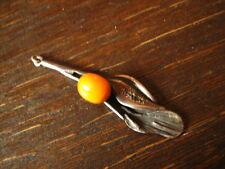 Encantador Jugendstil Mistel Bernstein remolque Butterscotch Amber 800er plata