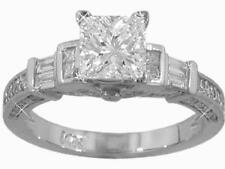 2.14 ct Princess Cut Diamond Antique Style Engagement Ring F Color SI1 Clarity