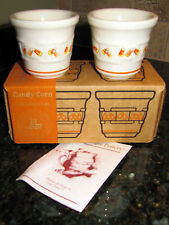 Longaberger Candy Corn Votive Candle Holders Set Of Two New In Box!