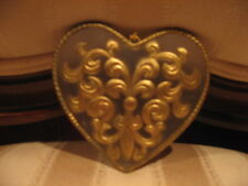 Xmas Ornament, Wedding, Valentines Day Gold Fleur de Lis Frosted Heart Gift Tag
