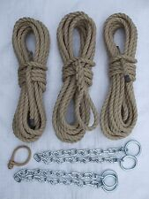 COMPLETE SET OF POLY HEMP 14mm MOORING ROPES FOR NARROWBOAT with MOORING CHAINS