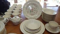 Vintage Stoneware Dinnerware Set International China Chalet Loiret ser 12 11sauc