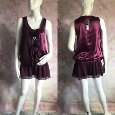 ✨ RED HERRING ✨PURPLE SHORT DRESS WITH  PIN 2 BROACH SIZE UK 12   ( GX44 )