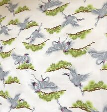 "3 XMeter Crane Bird Print 100% Pure Cotton Designer dress fabric Craft 45""Poplin"