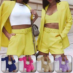 2PCS Women Blazer Suit Co-ord Set Jacket Tops + Shorts Ladies Office Work Suit
