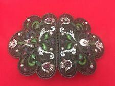 Antique 19th Century Silver Enamel Belt Buckle Filigree pearls Emerald's Ruby's