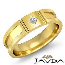 Princess Solitaire Diamond Mens Half Wedding Band 6mm Ring 14k Yellow Gold 0.1Ct