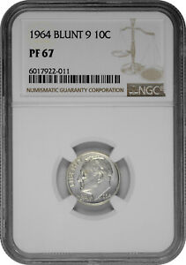 1964 Blunt 9 10C Proof Silver Roosevelt Dime NGC PF 67