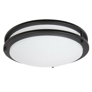 Maxxima 14 in. Black LED Ceiling Mount Fixture - Warm White, 3000K 1650 Lumens
