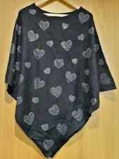 Black Joanna Hope Poncho Top With Silver Hearts Size S/M Small/Medium