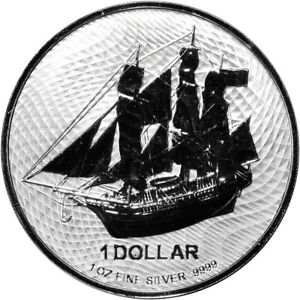 2021 Cook Islands Silver Bounty Sailing Ship 1 oz $1 BU