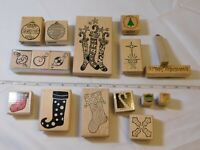 Lot of Misc Wood Mount Stamp Set includes 17 rubber stamps Christmas pre-owned