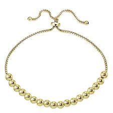 Gold Tone over Sterling Silver 5mm Bead Adjustable Bracelet