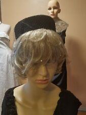 Vintage black velvet hat with netting/rhinstones