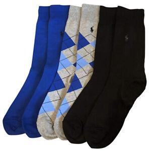 RALPH LAUREN Men's Argyle Crew Socks (3 PACK) Fits UK Shoe Size 6-12