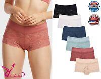 Lot of 6 Women Floral Lace Hipster Panty BoyShort Briefs Underwear S-XL Panties