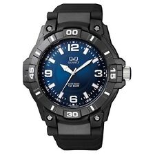 Q&Q VR86J004Y By Citizen Black Resin Blue Dial Analog Sport Round Watch