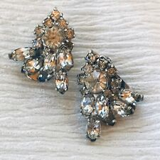 Vintage Clear Rhinestone Flower Spray Clip Earrings – silvertone setting – 1 x 7