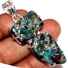 "U14907 Copper Chrysocolla 925 Sterling Silver Plated Pendant 2.1"""