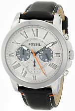 FOSSIL FS4886 MENS CHRONOGRAPH GRANT BLACK LEATHER WATCH BNWT TRUSTED SELLER A+
