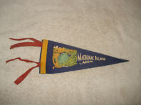 VINTAGE 1940s Mackinac Island Michigan wool/felt Pennant