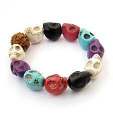 18mm Howlite Turquoise Skull Tibet Buddhist Prayer Beads Mala Bracelet