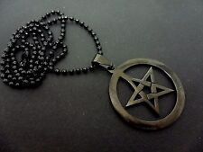 "A BLACK METAL PENTAGRAM PENTANGLE   NECKLACE. GOTH. 18"" LONG. NEW."