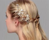 Crystal Hair Pins Pearls Bridal Dress Accessories Beaded Leaf Wedding Headdress