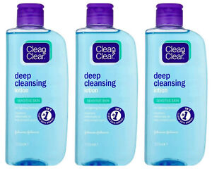 3 x CLEAN & CLEAR DEEP CLEANSING SPOT-FIGHTING LOTION SENSITIVE OILY SKIN 200ml
