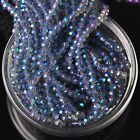 500pcs 4x3mm Rondelle Faceted Crystal Glass Loose Beads Blue Colorized