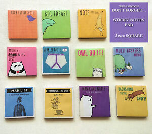 """WPL STICKY NOTES PAD Fun Colourful TO DO LISTS Puns Cute 3"""" SQUARE 50 Sheet Gift"""