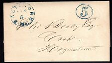 """US 1849 BALTIMORE MD """"5"""" IN BLUE ON LETTER OFFICE OF THE BOSTON TURNPIKE"""