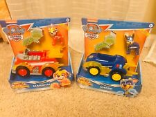 2 PAW PATROL MIGHTY PUPS SUPER PAWS CHASE AND MARSHAL DELUXE VEHICLE