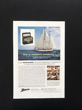 1956 Vintage Print Ad ZENITH Trans-Oceanic Short Wave Radio Ship Sailboat