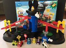 Fisher Price Mickey Motors Raceway Car Track Goofy Donald Pluto Rev 'n Go Racers