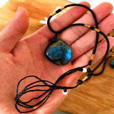 1PC Natural Crystal Labradorite Moonstone Pendant Healing Stone Necklace Gift
