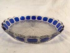 Antique MOSER Cobalt Blue Paneled Glass Liquor Round Tray RARE HTF