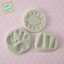 Unicorn theme silicone mold 3 pieces LOT. For fondant, chocolate, resin, clay.