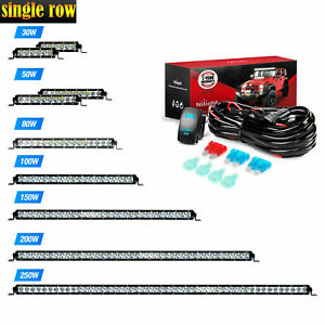 "Nilight Single Row LED Work Light Bar 3D Spot Flood Off Road 7/11/21/31/41/51""in"