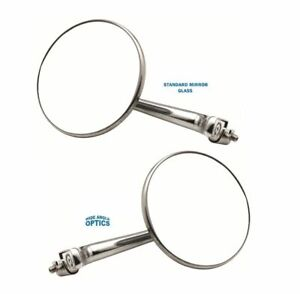 """4"""" CONVEX STRAIGHT ARM Peep Mirror Outside Side Door Frame Rearview Hot Rod Pair"""