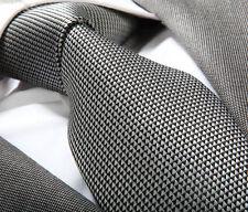 SILVER GREY & BLACK SILK TIE - ITALIAN DESIGNER Milano Exclusive