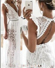 FOREVER HOT! NEW TIGERMIST WHITE SEMI SHEER LACE MAXI FORMAL DRESS 6 8 10 12
