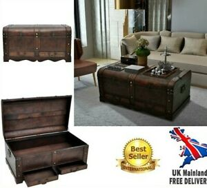 Coffee Table Trunk Vintage Wooden Pirate Chest Blanket Drawer Storage Furniture