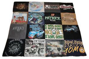 "handmade t-shirt lap quilt (48"" x 44"") motorcycle race car brewery redneck"