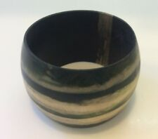 Vintage Danish Monies Gerda Lynggaard Cuff Bangle Bracelet Black Wood Modernist