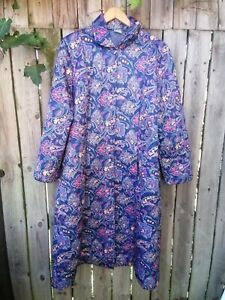 vintage damart ladies quilted full length housecoat button down dressing gown 16