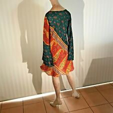 Little Birdy Studios - Handmade 100% Silk Slip On Summer Blouse / Shirt Dress L!
