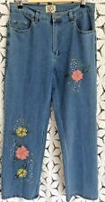 24 Karat Womens Sz 8 Jeans Appliqued Embroidered Sequins Mid Rise
