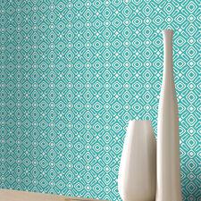 Papel Pintado Rasch - De Lujo Retro Geométrico Estampado - Blanco & Verde